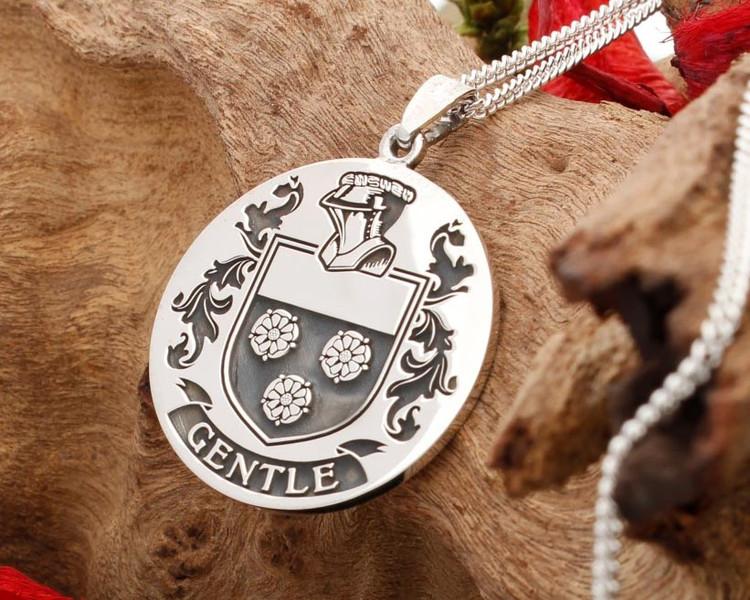 GENTLE Family Crest Silver Pendant Custom Engraved