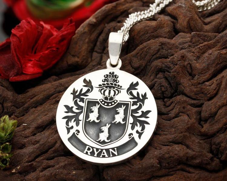 Ryan Family Crest Silver Engraved Pendant