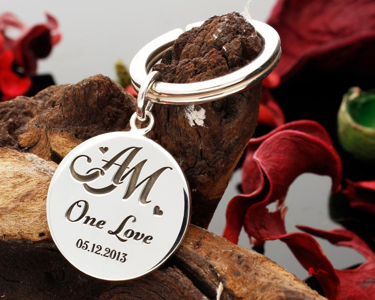 Monogram Silver Keyring, fully personalised, we will create your own bespoke monogram.