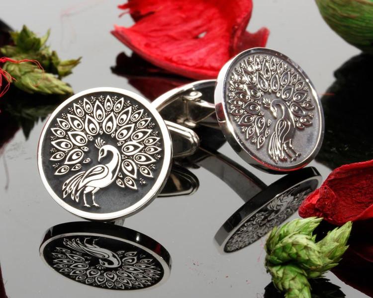Peacock Custom Engraved Personalised Cufflinks Negative Engraving