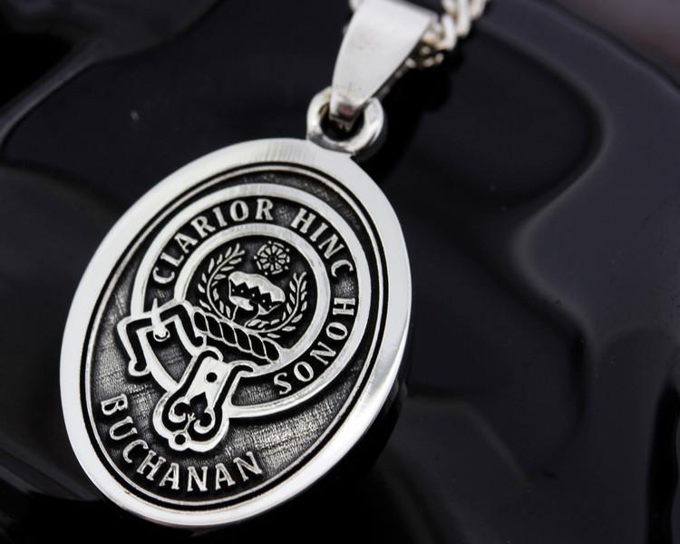 Scottish Clan Buchanan engraved onto Silver Oval Medium Pendant.  All designs available