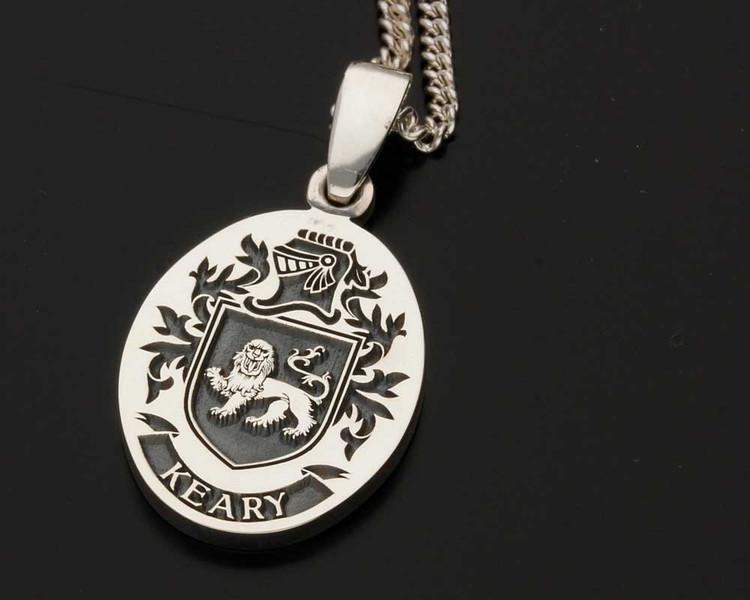 KEARY Family Crest Engraved Silver Pendant
