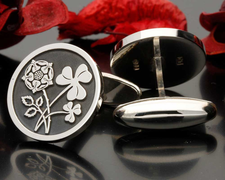 English Rose Irish Clover Engraved Cufflinks