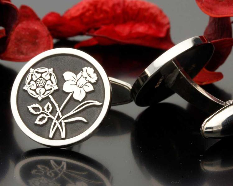 English Rose Welsh Daffodil Engraved Cufflinks