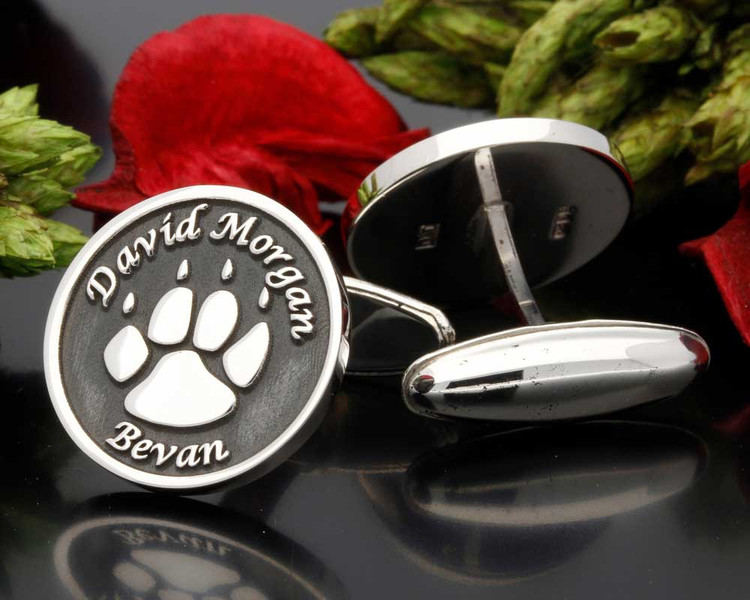 Bear Paw Engraved Cufflinks - Negative Engraving shown
