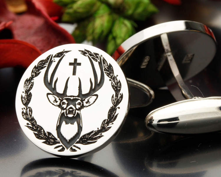 Stag Wreath and Cross bespoke cufflinks
