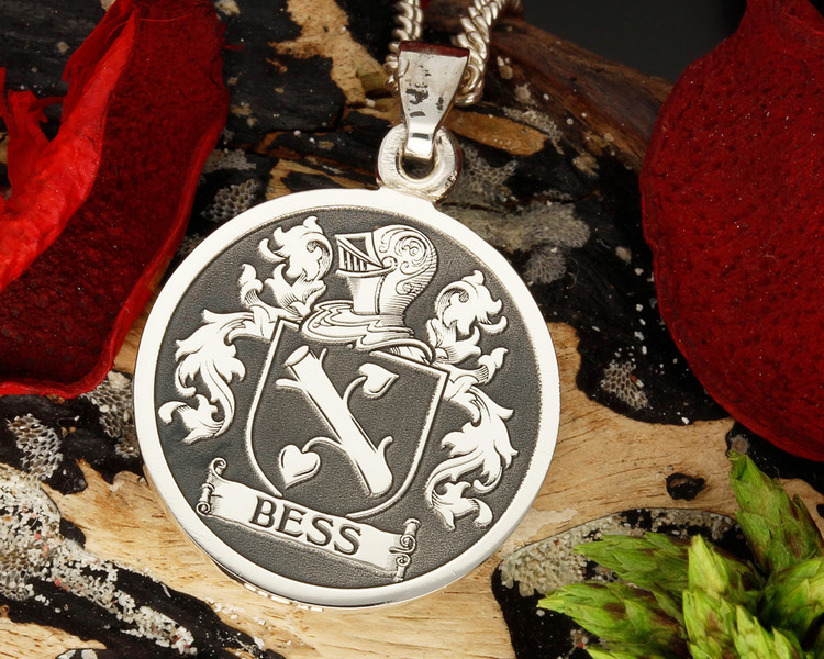 BESS / BESSE Family Crest Engraved Silver Pendant