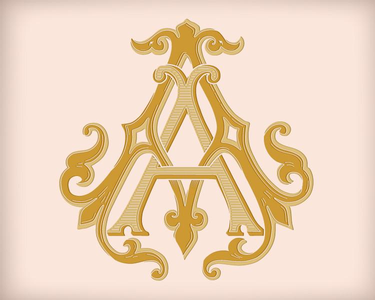 Victorian Monogram AA D1 - hand drawn design, graphic design only - download