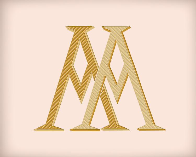 Victorian Monogram AA D2 - hand drawn design, graphic design only - download