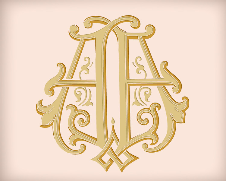 Victorian Monogram AA D3 - hand drawn design, graphic design only - download