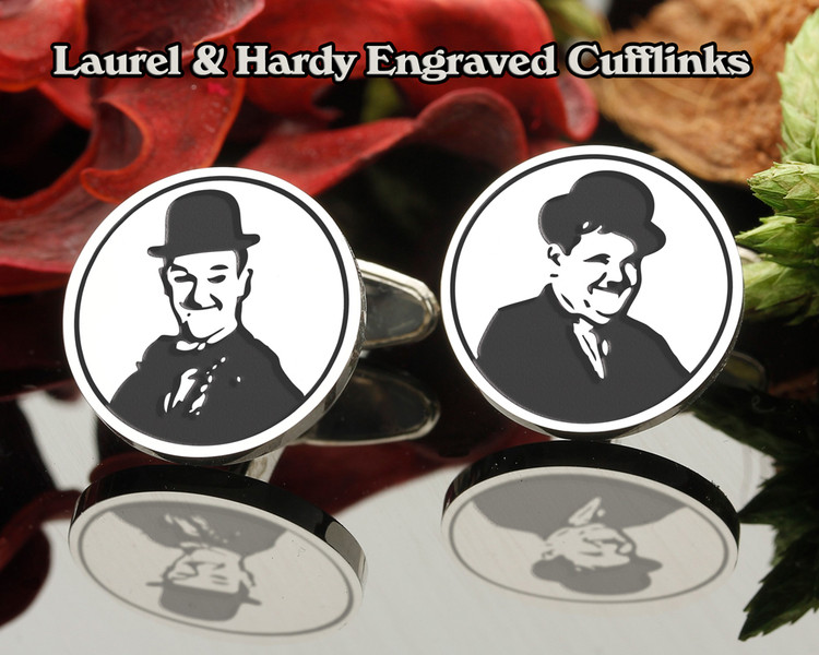 Laurel & Hardy Engraved Cufflinks