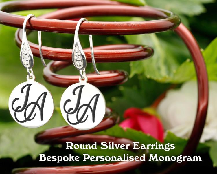 Round Personalised Monogram Silver Earrings