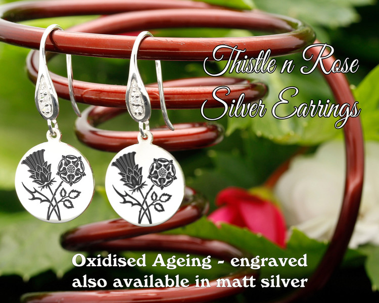 Thistle and Rose design sterling silver earrings - engraved oxidised