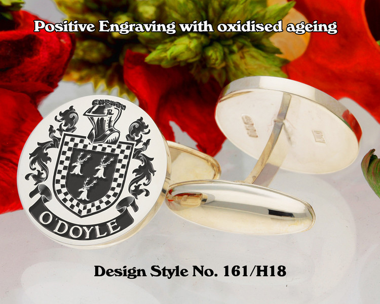 O'Doyle Family Crest Positive Engraving Cufflinks