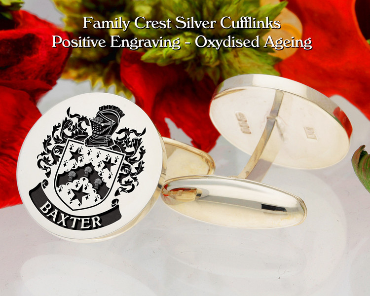 Baxter Family Crest Cufflinks Oxidised Finish Positive Engraving