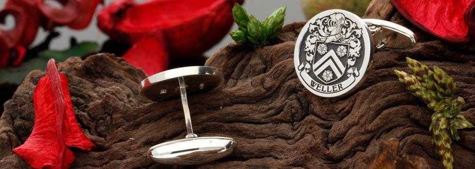 Family Crest Mens Cufflinks Silver Bespoke Design
