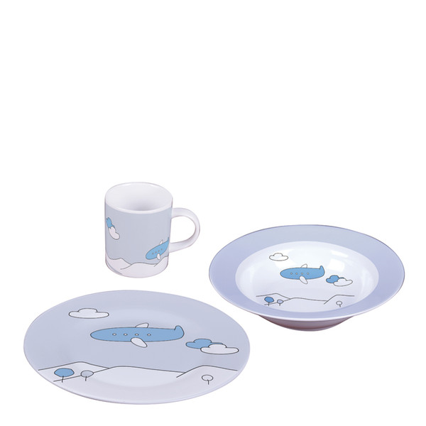 Sambonet Kids Set Blue Plane 3 pcs Baby Set