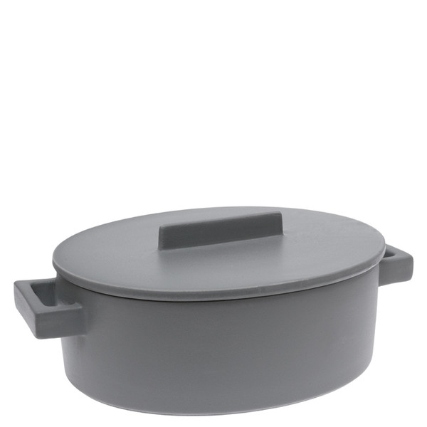 Sambonet Terra Cotto Oval saucepot, 2 handles with lid, Pepper