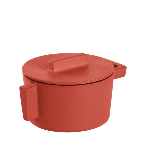 Sambonet Terra Cotto Cast Iron Saucepot with Lid, Paprika, 4 inch, 10 ounce