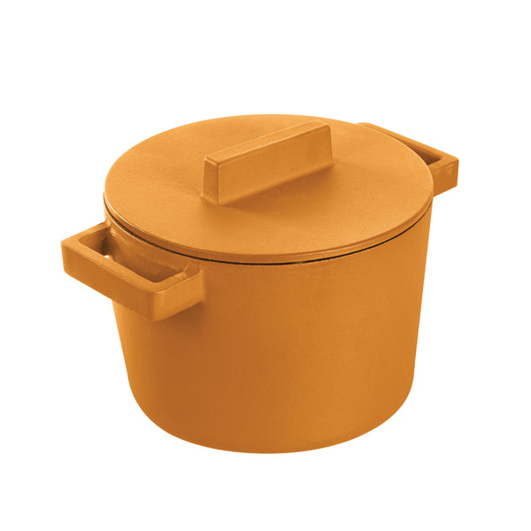 Sambonet Terra Cotto Cast Iron Saucepot With Lid, Vanilla, 6 1/4 inch