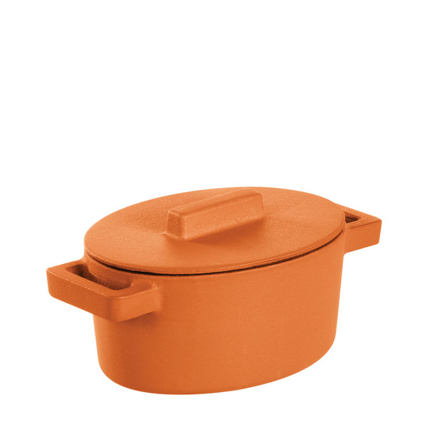 Sambonet Terra Cotto Cast Iron Oval Casserole with Lid, Curry, 5 x 4 inch