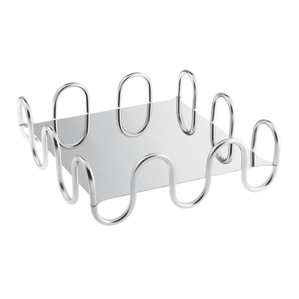 Kyma Inox Stainless Steel Square Design Object, 10 1/4 x 10 1/4 x 3 3/8 inch