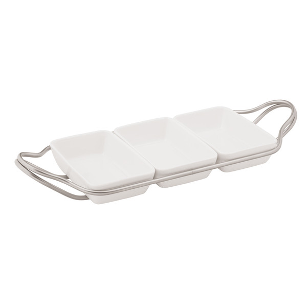 New Living Antico / Porcelain Rectangular hors d'oeuvre tray set, 14 1/4 x 7 x 2 1/4 inch