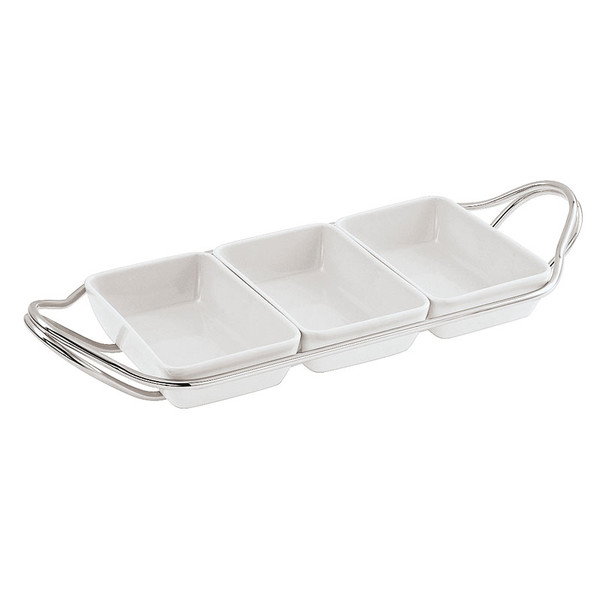 New Living Mirror / Porcelain Rectangular hors d'oeuvre tray set, 14 1/4 x 7 x 2 1/4 inch