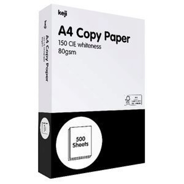 KEJI 80GSM A4 WHITE PAPER - PER REAM (KEA4CP80RM) ***FOR VIC, QLD, WA & SA METRO ONLY***