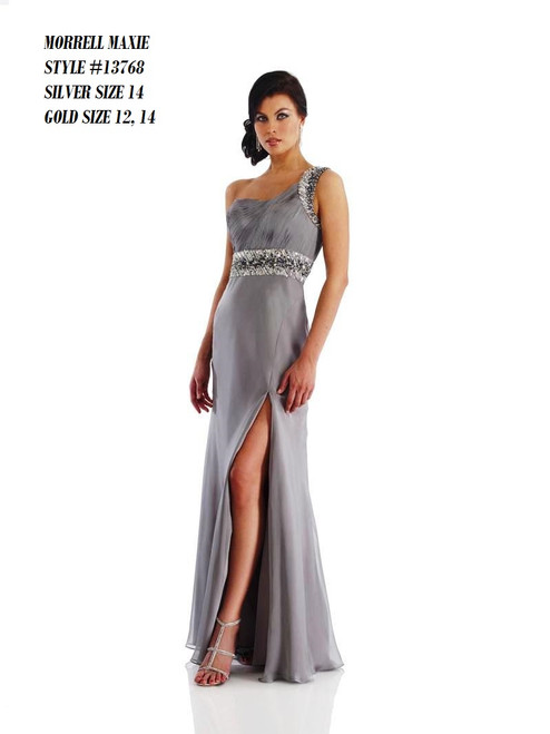 Brand Name: Morrell Maxie  Description: Long Dress With One Shoulder  Material: 100% Polyester  Available Sizes : Silver 14,16... Gold 14,16  BEFORE $459.00  NOW $229.00      Please call 213-748-6464 for availability of the product and other questions and prices !
