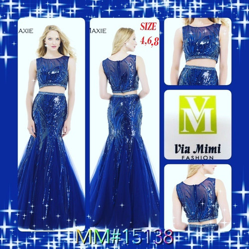 before $489.00  now $249.00   PLEASE CALL US FOR MORE IMFORMATION AND PRICE !   VIA MIMI FASHION   TEL: (213)748-MIMI (6464)   FAX: (213)749-MIMI (6464)   E-Mail: mimi@viamimifashion.com        Morrell Maxie 15138     Glitzy two-piece mermaid dress by Morrell Maxie     Blow all of their minds by showing up at the shindig in this dazzling Morrell Maxie 15138 dress! Blazingly shining paillettes are featured throughout and ensure head-to-toe sparkle. The fitted, cropped bodice boasts an on-trend illusion neckline. Delicate tulle godets enhance the flared style of the skirt