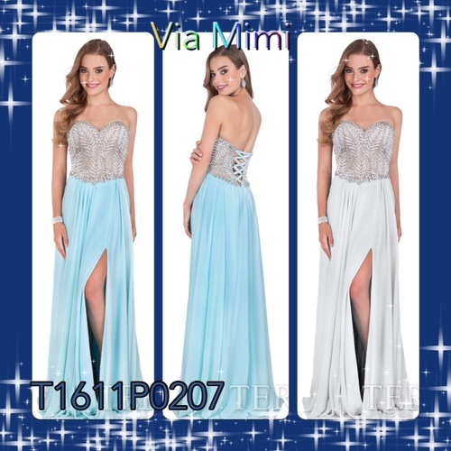 Terani 1611P0207 BEFORE $499.00   NOW $269.00     Ethereal Bejeweled Bodice Evening Dress by TeranI       Lovely and elegant, this classy evening dress by Terani 1611P0207 is a dream come true. The strapless sweetheart bodice is edged in dazzling rhinestones and sparkles with an elaborate array of twinkling crystals in a stunning vine pattern. This picture perfect ensemble drapes and flows to the full-length hem, finished with a romantic and timeless side slit.  FOR PRICE OR MORE IMFORMATION PLEASE GIVE US A CALL  VIA MIMI FASHION  1333 S. SANTEE ST   LA,CA.90015  TEL: (213)748-MIMI (6464)  FAX: (213)749-MIMI (6464)  E-Mail: mimi@viamimifashion.com  https://www.facebook.com/viamimifashion  https://www.instagram.com/viamimifashion  https://twitter.com/viamimifashion
