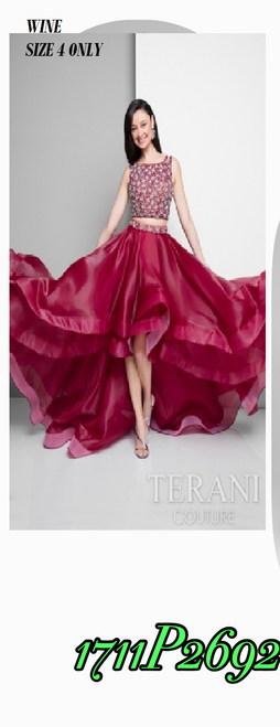 Terani 1711P2692 BEFORE $389.00    NOW $229.00   Dramatic two-piece asymmetrical gown from Terani Prom     Find the dress of your dreams in a heavenly gown from Terani 1711P2692 Prom. Double straps bedeck your shoulders and part into a bateau neckline. Gem-like accents shine atop the crop top bodice to show off your middle. A bejeweled waistband hits your hips and comes into tiered layers of ruffles to showcase a hi-lo hemline.   FOR MORE IMFORMATION AND PRICE PLEASE GIVE US A CALL  WE BEAT  ALL PRICES !!!!  VIA MIMI FASHION  1333 S. SANTEE ST.  LA,CA.90015  TEL: (213)748-MIMI (6464)  FAX: (213)749-MIMI (6464)  E-Mail: mimi@viamimifashion.com  https://www.facebook.com/viamimifashion     https://www.instagram.com/viamimifashion
