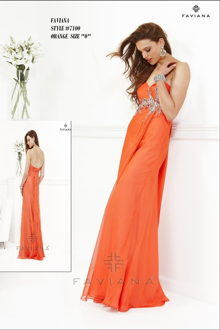 """FAVIANA STYLE 7100  COLOR : ORANGE  SIZE : """"0""""  ONLY   BEFORE $459.00  NOW $249.00  WE BEAT ALL PRICES !!!  FRO MORE IMFORMATION PLEASE CALL US   VIA MIMI FASHION  1333 S. SANTEE ST.  LA,CA.90015  TEL: (213)748-MIMI (6464)  FAX: (213)749-MIMI (6464)  E-Mail: mimi@viamimifashion.com  WEBSITE  http://viamimifashion.com  https://www.facebook.com/viamimifashion     https://www.instagram.com/viamimifashion  https://twitter.com/viamimifashion"""