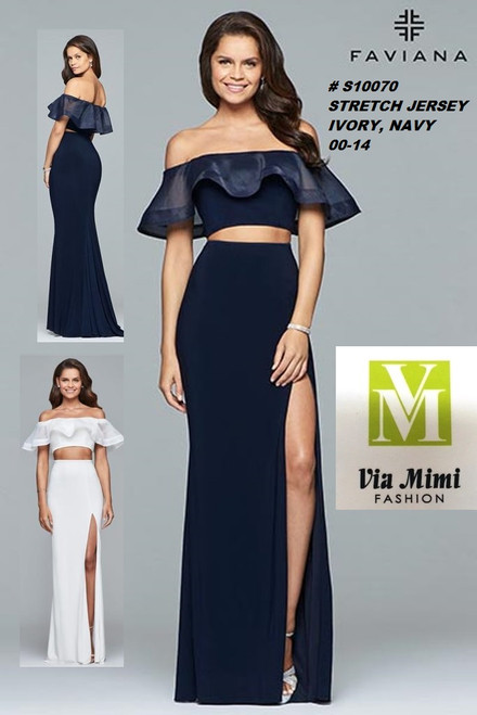 FAVIANA STYLE #S10070  STRETCH JERSEY   SIZE : 00-14  COLOR: IVORY, NAVY  FOR MORE IMFORMATION AND PRICE PLEASE GIVE US A CALL   WE BEAT  ALL PRICES !!!!  VIA MIMI FASHION  1333 S. SANTEE ST.  LA,CA.90015  TEL: (213)748-MIMI (6464)  FAX: (213)749-MIMI (6464)  E-Mail: mimi@viamimifashion.com  http://viamimifashion.com  https://www.facebook.com/viamimifashion    https://www.instagram.com/viamimifashion  https://twitter.com/viamimifashion