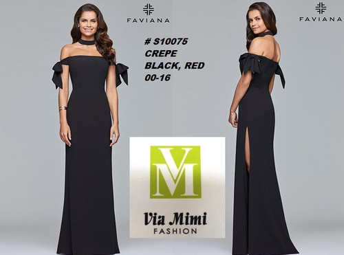 FAVIANA STYLE #S10075  CREPE   SIZE : 00-16  COLOR: BLACK, RED    FOR MORE IMFORMATION AND PRICE PLEASE GIVE US A CALL   WE BEAT  ALL PRICES !!!!  VIA MIMI FASHION  1333 S. SANTEE ST.  LA,CA.90015  TEL: (213)748-MIMI (6464)  FAX: (213)749-MIMI (6464)  E-Mail: mimi@viamimifashion.com  http://viamimifashion.com  https://www.facebook.com/viamimifashion    https://www.instagram.com/viamimifashion  https://twitter.com/viamimifashion