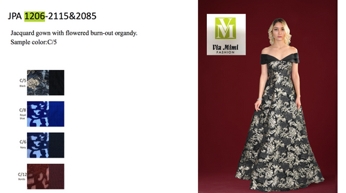 JOHN PAUL ATAKER STYLE #JPA1206  JACQUARD GOWN WITH FLOWERED BURN- OUT ORGANDY  PICTURE COLOR: C/5     SIZE : 0 TO 16  FOR MORE IMFORMATION AND PRICE PLEASE GIVE US A CALL   WE BEAT  ALL PRICES !!!!  VIA MIMI FASHION  1333 S. SANTEE ST.  LA,CA.90015  TEL: (213)748-MIMI (6464)  FAX: (213)749-MIMI (6464)  E-Mail: mimi@viamimifashion.com  http://viamimifashion.com  https://www.facebook.com/viamimifashion    https://www.instagram.com/viamimifashion  https://twitter.com/viamimifashion