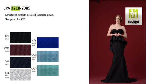 JOHN PAUL ATAKER STYLE #JPA1218  STRUCTURED PEPLUM DETAILED JACQUARD GOWN   PICTURE COLOR: C/5    SIZE : 0 TO 16  FOR MORE IMFORMATION AND PRICE PLEASE GIVE US A CALL   WE BEAT  ALL PRICES !!!!  VIA MIMI FASHION  1333 S. SANTEE ST.  LA,CA.90015  TEL: (213)748-MIMI (6464)  FAX: (213)749-MIMI (6464)  E-Mail: mimi@viamimifashion.com  http://viamimifashion.com  https://www.facebook.com/viamimifashion    https://www.instagram.com/viamimifashion  https://twitter.com/viamimifashion