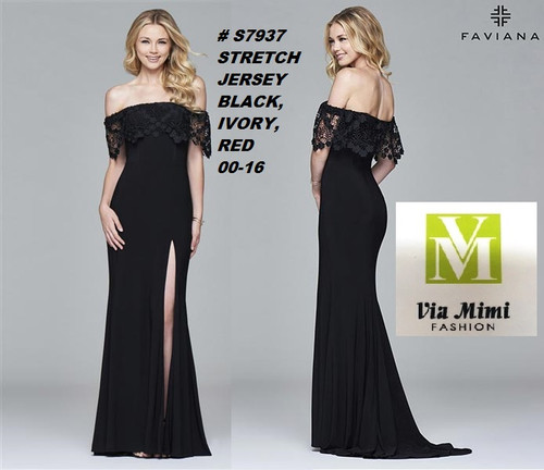 FAVIANA STYLE #S7937  STRETCH JERSEY   SIZE : 00-16  COLOR:BLACK, IVORY, RED  FOR MORE IMFORMATION AND PRICE PLEASE GIVE US A CALL   WE BEAT  ALL PRICES !!!!  VIA MIMI FASHION  1333 S. SANTEE ST.  LA,CA.90015  TEL: (213)748-MIMI (6464)  FAX: (213)749-MIMI (6464)  E-Mail: mimi@viamimifashion.com  http://viamimifashion.com  https://www.facebook.com/viamimifashion    https://www.instagram.com/viamimifashion  https://twitter.com/viamimifashion