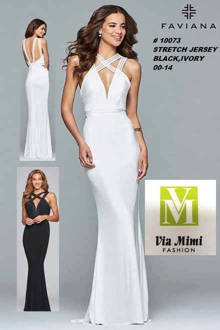 FAVIANA STYLE #10073  STRETCH  JERSEY   SIZE : 00-14  COLOR: BLACK, IVORY  FOR MORE IMFORMATION AND PRICE PLEASE GIVE US A CALL   WE BEAT  ALL PRICES !!!!  VIA MIMI FASHION  1333 S. SANTEE ST.  LA,CA.90015  TEL: (213)748-MIMI (6464)  FAX: (213)749-MIMI (6464)  E-Mail: mimi@viamimifashion.com  http://viamimifashion.com  https://www.facebook.com/viamimifashion    https://www.instagram.com/viamimifashion  https://twitter.com/viamimifashion