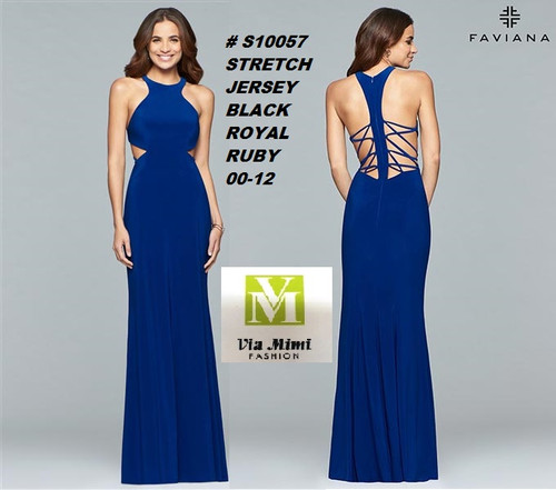 FAVIANA STYLE #S10057 STRETCH JERSEY   SIZE : 00-12  COLOR: BLACK, ROYAL, RUBY  FOR MORE IMFORMATION AND PRICE PLEASE GIVE US A CALL   WE BEAT  ALL PRICES !!!!  VIA MIMI FASHION  1333 S. SANTEE ST.  LA,CA.90015  TEL: (213)748-MIMI (6464)  FAX: (213)749-MIMI (6464)  E-Mail: mimi@viamimifashion.com  http://viamimifashion.com  https://www.facebook.com/viamimifashion    https://www.instagram.com/viamimifashion  https://twitter.com/viamimifashion