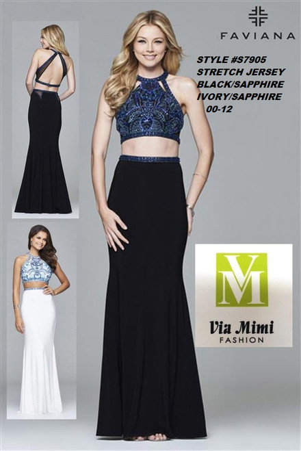FAVIANA STYLE #S7905  STRETCH JERSEY   SIZE : 00-12  COLOR: BLACK/SAPHIRE,  IVORY/SAPPHIRE  FOR MORE IMFORMATION AND PRICE PLEASE GIVE US A CALL   WE BEAT  ALL PRICES !!!!  VIA MIMI FASHION  1333 S. SANTEE ST.  LA,CA.90015  TEL: (213)748-MIMI (6464)  FAX: (213)749-MIMI (6464)  E-Mail: mimi@viamimifashion.com  http://viamimifashion.com  https://www.facebook.com/viamimifashion    https://www.instagram.com/viamimifashion  https://twitter.com/viamimifashion