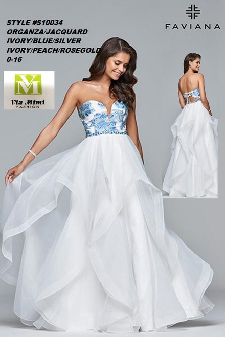 FAVIANA STYLE #S10034 ORGANZA & JACQUARD ORGANZA   SIZE : 00-16  COLOR: IVORY/ BLUE /SILVER, IVORY/ PEACH /ROSE GOLD  FOR MORE IMFORMATION AND PRICE PLEASE GIVE US A CALL   WE BEAT  ALL PRICES !!!!  VIA MIMI FASHION  1333 S. SANTEE ST.  LA,CA.90015  TEL: (213)748-MIMI (6464)  FAX: (213)749-MIMI (6464)  E-Mail: mimi@viamimifashion.com  http://viamimifashion.com  https://www.facebook.com/viamimifashion    https://www.instagram.com/viamimifashion  https://twitter.com/viamimifashion