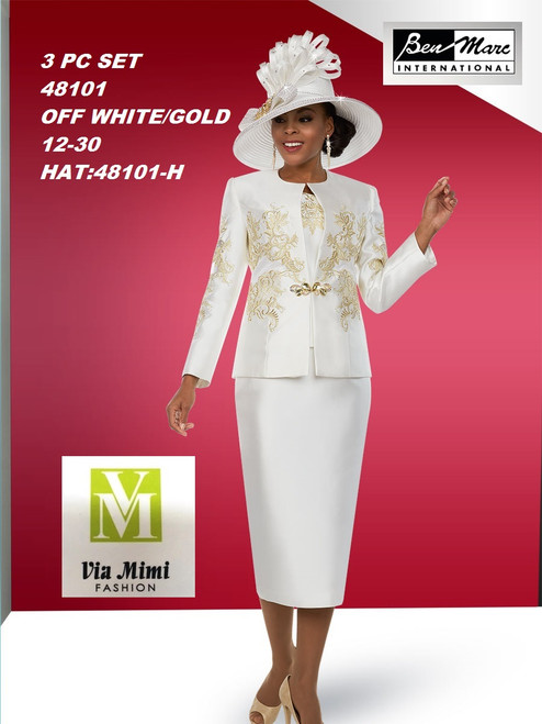 BEN MARC STYLE #48101  3 PC SET  COLOR: OFF-WHITE/GOLD  SIZE : 12-30  HAT: 48101-H  FOR MORE IMFORMATION AND PRICE PLEASE GIVE US A CALL   WE BEAT  ALL PRICES !!!!  VIA MIMI FASHION  1333 S. SANTEE ST.  LA,CA.90015  TEL: (213)748-MIMI (6464)  FAX: (213)749-MIMI (6464)  E-Mail: mimi@viamimifashion.com  http://viamimifashion.com  https://www.facebook.com/viamimifashion    https://www.instagram.com/viamimifashion  https://twitter.com/viamimifashion