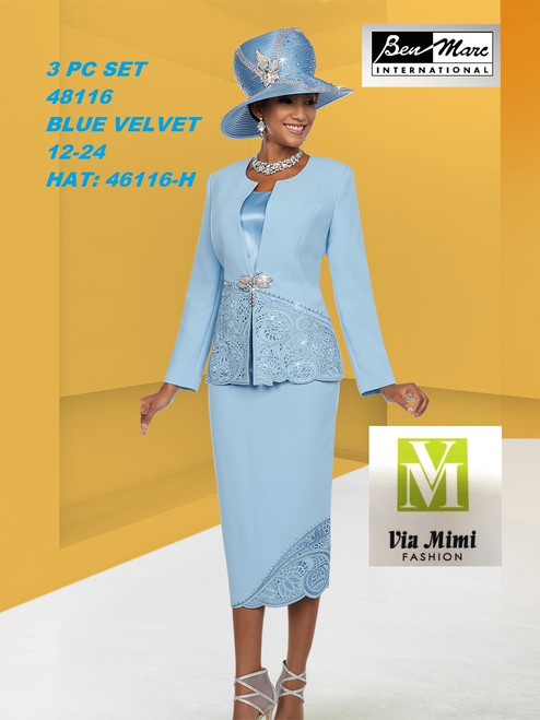 BEN MARC STYLE #48116  3 PC SET  COLOR: BLUE VELVET  SIZE : 12-24  HAT: 48116-H  FOR MORE IMFORMATION AND PRICE PLEASE GIVE US A CALL   WE BEAT  ALL PRICES !!!!  VIA MIMI FASHION  1333 S. SANTEE ST.  LA,CA.90015  TEL: (213)748-MIMI (6464)  FAX: (213)749-MIMI (6464)  E-Mail: mimi@viamimifashion.com  http://viamimifashion.com  https://www.facebook.com/viamimifashion    https://www.instagram.com/viamimifashion  https://twitter.com/viamimifashion