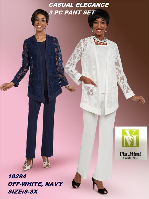 CASUAL ELEGANCE  STYLE #18294  3 PC  PANT SET  COLOR: OFF-WHITE, NAVY  SIZE: S-3X  FOR MORE IMFORMATION AND PRICE PLEASE GIVE US A CALL   WE BEAT  ALL PRICES !!!!  VIA MIMI FASHION  1333 S. SANTEE ST.  LA,CA.90015  TEL: (213)748-MIMI (6464)  FAX: (213)749-MIMI (6464)  E-Mail: mimi@viamimifashion.com  http://viamimifashion.com  https://www.facebook.com/viamimifashion    https://www.instagram.com/viamimifashion  https://twitter.com/viamimifashion