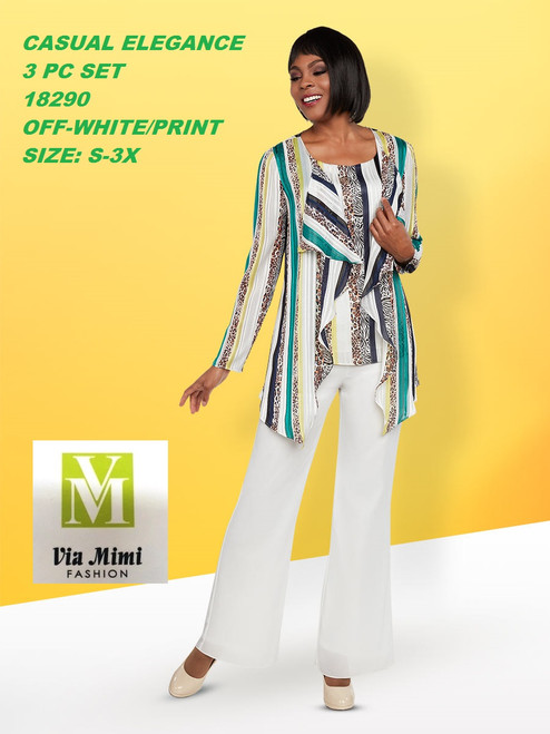 CASUAL ELEGANCE  STYLE #18290 3 PC PANT SET  COLOR: OFF-WHITE/PRINT  SIZE: S-3X  FOR MORE IMFORMATION AND PRICE PLEASE GIVE US A CALL   WE BEAT  ALL PRICES !!!!  VIA MIMI FASHION  1333 S. SANTEE ST.  LA,CA.90015  TEL: (213)748-MIMI (6464)  FAX: (213)749-MIMI (6464)  E-Mail: mimi@viamimifashion.com  http://viamimifashion.com  https://www.facebook.com/viamimifashion    https://www.instagram.com/viamimifashion  https://twitter.com/viamimifashion