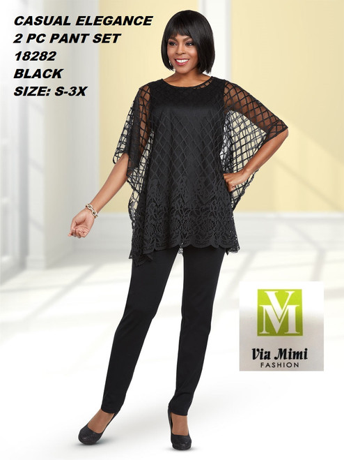 CASUAL ELEGANCE  STYLE #18282  2 PC PANT SET  COLOR: BLACK  SIZE: S-3X   FOR MORE IMFORMATION AND PRICE PLEASE GIVE US A CALL   WE BEAT  ALL PRICES !!!!  VIA MIMI FASHION  1333 S. SANTEE ST.  LA,CA.90015  TEL: (213)748-MIMI (6464)  FAX: (213)749-MIMI (6464)  E-Mail: mimi@viamimifashion.com  http://viamimifashion.com  https://www.facebook.com/viamimifashion    https://www.instagram.com/viamimifashion  https://twitter.com/viamimifashion
