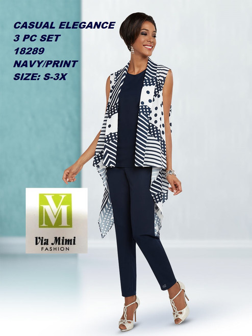 CASUAL ELEGANCE  STYLE #18289  3 PC PANT SET  COLOR: NAVY/PRINT  SIZE: S-3X  FOR MORE IMFORMATION AND PRICE PLEASE GIVE US A CALL   WE BEAT  ALL PRICES !!!!  VIA MIMI FASHION  1333 S. SANTEE ST.  LA,CA.90015  TEL: (213)748-MIMI (6464)  FAX: (213)749-MIMI (6464)  E-Mail: mimi@viamimifashion.com  http://viamimifashion.com  https://www.facebook.com/viamimifashion    https://www.instagram.com/viamimifashion  https://twitter.com/viamimifashion