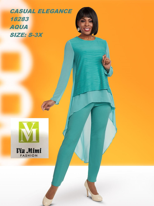 CASUAL ELEGANCE  STYLE #18283  2 PC PANT SET  COLOR: AQUA  SIZE: S-3X  FOR MORE IMFORMATION AND PRICE PLEASE GIVE US A CALL   WE BEAT  ALL PRICES !!!!  VIA MIMI FASHION  1333 S. SANTEE ST.  LA,CA.90015  TEL: (213)748-MIMI (6464)  FAX: (213)749-MIMI (6464)  E-Mail: mimi@viamimifashion.com  http://viamimifashion.com  https://www.facebook.com/viamimifashion    https://www.instagram.com/viamimifashion  https://twitter.com/viamimifashion